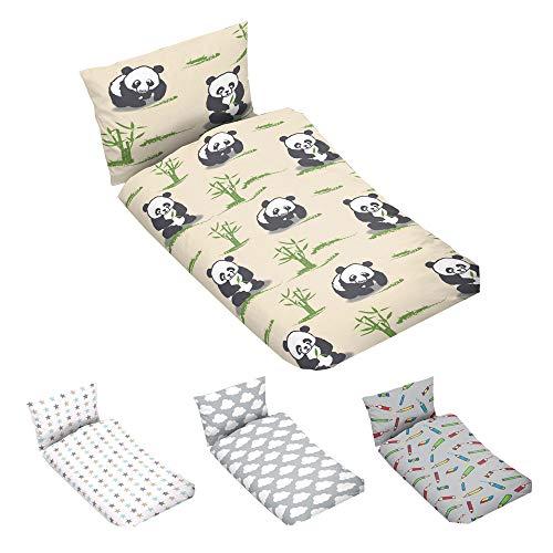 Juego de ropa de cama infantil de 100 x 135 cm, 100% algodón, en beige con oso panda