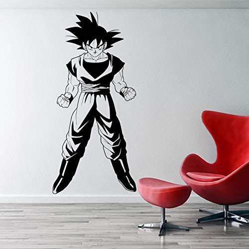 woyaofal Dragonball Z Inspirado Goku 3D Etiqueta de la Pared Vinilo película Animada Dibujos Animados decoración del hogar DIY Pared calcomanía para niños habitación 58 cm x 120 cm