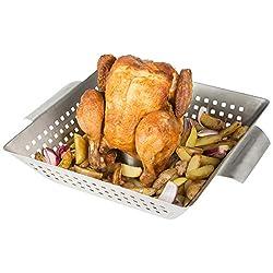 Bruzzzler Hähnchenbräter, Geflügelgriller aus Edelstahl, ideal für knusprige Brathähnchen, Hähnchengriller mit Aromaaufsatz zum Füllen mit Bier, Gewürzen etc. – für geschlossene Grills und Backofen