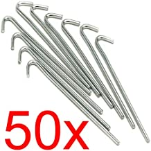 EFG 50 x Heavy Duty 9 Tent Pegs- 23CM x 4.5MM - Galvanised Steel - Curved Hook On Top - For Securing Tents/Awnings/Goal Nets/Pond Netting
