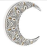 "Mandala Moon Wall Decor White. Viory Moon Wall Art. 12"" Crescent Moon Phase Wall Hanging. Moon Wall Decor, Bedroom Decor, Boho Decor, Unique Room Decor Gift, Beach Decor, Fall Wall Decor, Moon Decor Wall Decorations Wood Art"