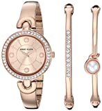 Anne Klein Women's Swarovski Crystal Accented Rose Gold-Tone Watch and Bangle Set, AK/3288RGST