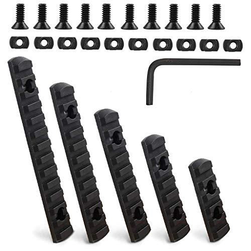 5 Piezas M-Lok Picatinny Rieles, 5/7/9/11/13 de Rieles de Material Polímero, con 10 T-Tuercas, 10 Tornillos y 1 Llave Inglesa (Negro)