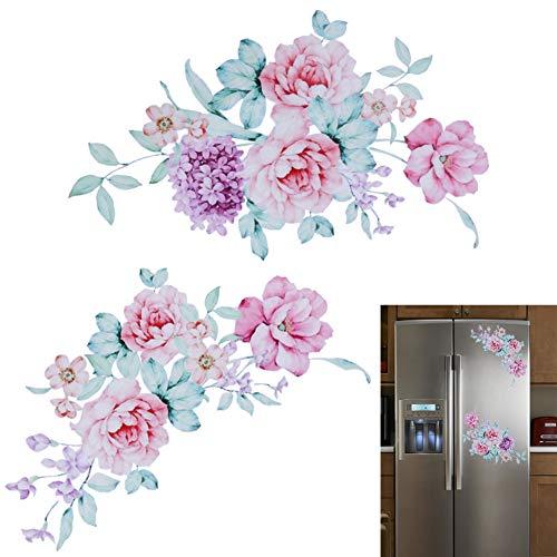 XCWQ muurtattoo pioenrose, zelfklevend, decoratie van het huis, vinyl, behang, stickers voor toilet, koelkast, zelfklevend, kinderen, woonkamer, huis