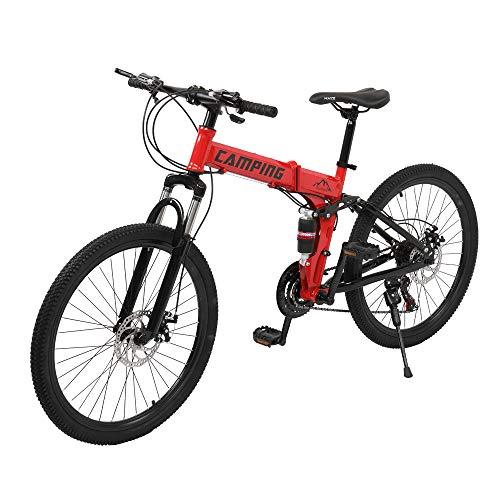 [Camping Survivals] 26-Inch 21-Speed Folding Mountain Bike Black