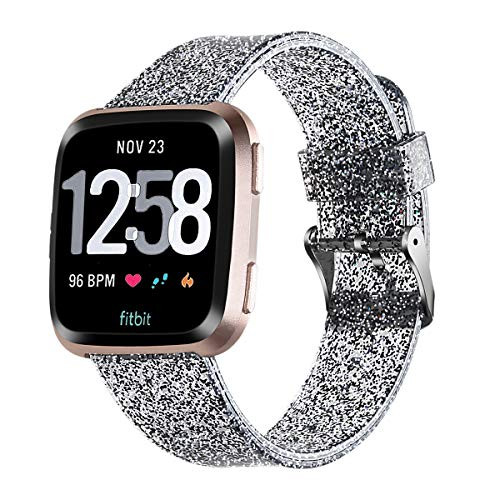 ownace Libra Gemini Bands Compatible Fitbit Versa, Bling Soft Silicone Fitbit Versa Bands, Metal Buckle Sport Wristband Strap Fitbit Versa Bands Women