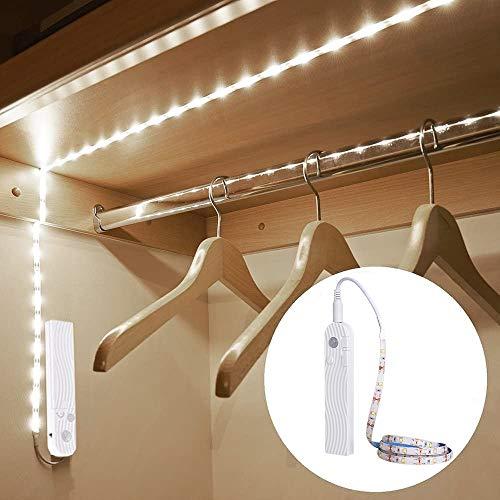 LED Band mit bewegungsmelder, OriFiil 3M/10FT LED Streifen dimmbar, USB wiederaufladbar batterie Nachtlicht, Schrankbeleuchtung kaltWeiß für unterbauleuchte Küche, Schrank, Regal,Treppe