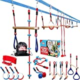 Double Ninja Slackline Obstacle Course for Kids - 80 Foot Line - Monkey Bars Playground Equipment - Ninja Warrior Course with Monkey Bars for Kids - (Deluxe Edition) - Patented Double Line Design