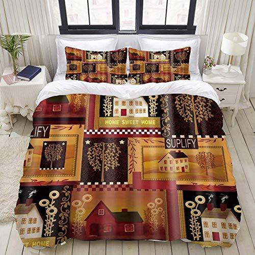 Yaoni Funda nórdica, Sweet Home House, Juego de Cama Juegos de Microfibra de Lujo Ultra cómodos y Ligeros