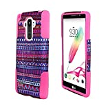 For LG G Stylo LS770 / LG Stylus H631 / ITUFFY 3items: Screen Protector Film+Stylus Pen+Dual Layer Impact Resistance Plastic Cover Soft Rubber Silicone KickStand Hybrid Case (Purple Tribal Aztec Pink) -  Snaponcase