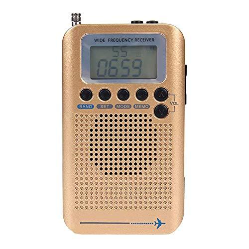 Zks Nostalgique Style Rétro Radio, Mini Portable Radio avec La Pleine Bande Et Affichage Rétro-Éclairé pour La Marche Randonnée Camping Walkman Pocket,d'or