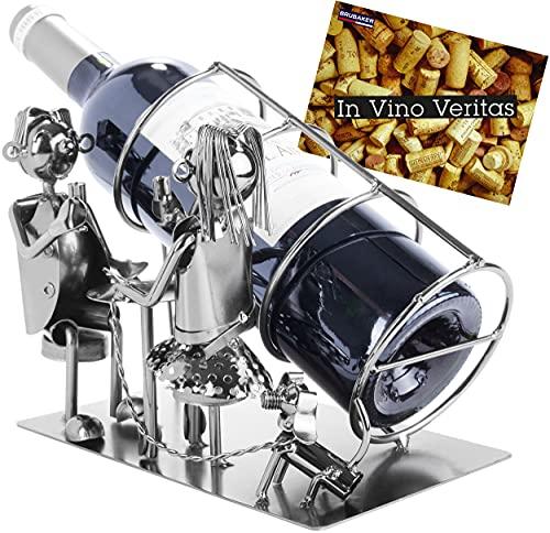 BRUBAKER Portabottiglia da Vino dal Raffinato Design Coppia Romantica - Portabottiglie per Vino in Metallo con Biglietto di Auguri