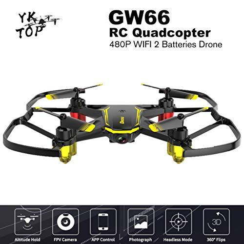 Heaviesk Globale Drone GW66 Mini-Drohne FPV Drones RC Hubschrauber Quadcopter Fernbedienung Quadrocopter Dron Spielzeug 480P WiFi 2 Batterien