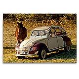 CALVENDO Toile Textile de qualité supérieure 120 cm x 80 cm, 3 CV | Tableau sur châssis – Impression sur Toile – Citroën 2CV avec Cheval Technology – Technologie