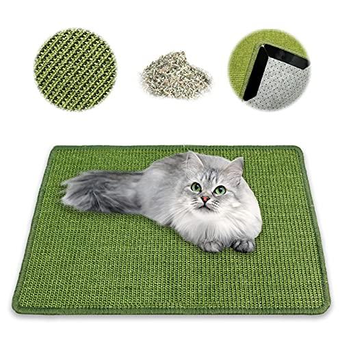 NASTRA Kratzmatte Katze - Sisal, Langlebige Rutschhemmende Sisal-Matte, Geeignet für Fußbodenheizung, Krallenpflege Sisalteppich für Wand & Boden (Green) 40 * 60CM