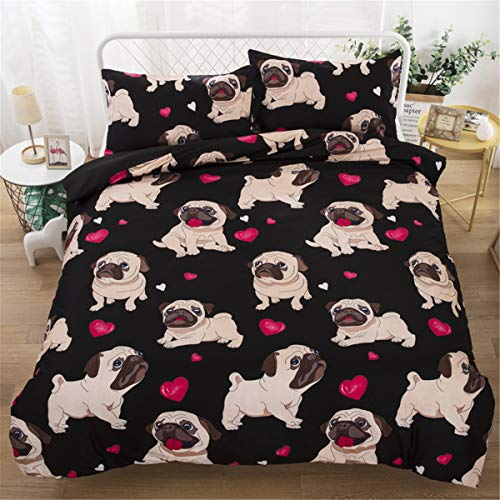 3 Pieces Double Size Dog Pug Duvet Cover for Kids Children,Dog Animal Black Bedding Set with Zipper Closure And 2 Pillowcases,Love Heart Reversible Microfiber Quilt Cover 200 x 200cm