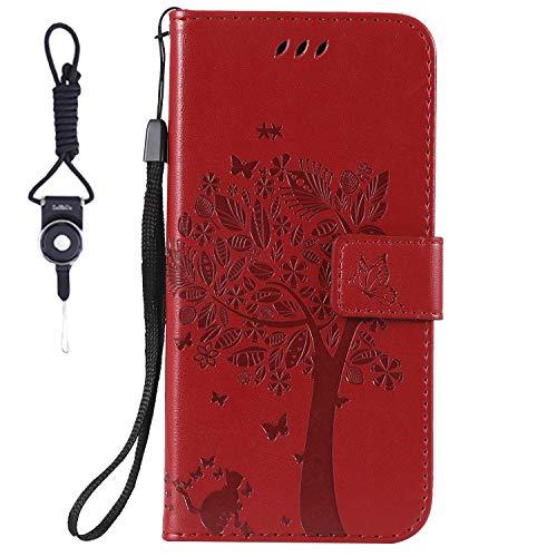 SsHhUu HTC Desire 825 Hülle, Echt PU Leder Hülle Kartenfach Standfunktion Magnet Ledertasche + Schlüsselband für HTC Desire 825 (2016) / Desire 10 Life Style (5.5 Zoll) Rot