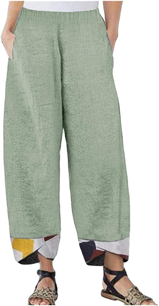 FUNEY Harem Pants for Women,Baggy Linen Wide Leg Trousers Casual Loose Print Patchwark Elastic Waist Hem Irregular Pant