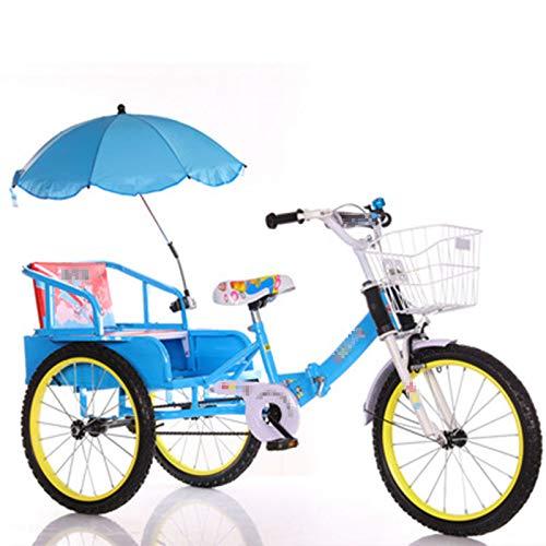 TWW Bicicleta Triciclo para Niños con Cubo 2-10 Años Gemelos Bebé Plegable Niños con Personas Triciclo Triciclo para Niños,Blue 14 Inches