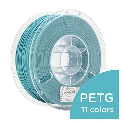 Polymaker PolyLite 3D Printer Filament, PETG Filament, 1.75mm Filament, 2.2lb(1Kg) Polymaker Teal Filament [Random Outer Packaging]
