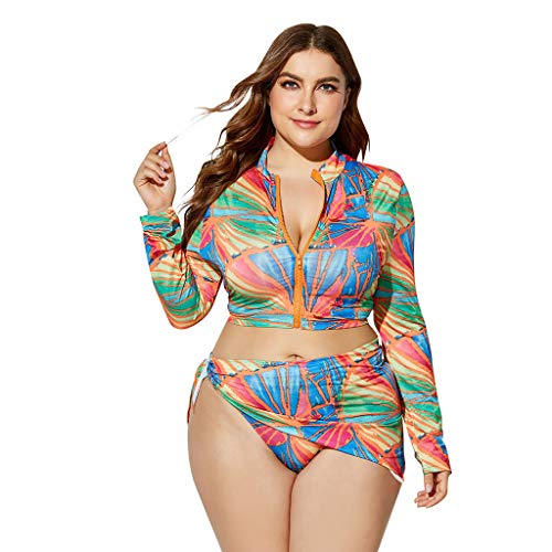 Bikinis Mujer 2019 Push Up Conjunto de Tres Piezas de Manga Larga con Estampado de Cintura Alta para Mujer Traje de Baño Ropa de Playa de Impresión Ropa de baño Bohemio 2019 Bikinis Jodier