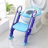 BAMNY Siège de Toilette Enfant Pliable et Réglable, Reducteur de Toilette Bébé avec Marches Larges, Lunette de Toilette Confortable Matériaux de Haute Qualité, Bleu (Version Améliorée)