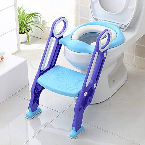 KEPLIN Riduttore WC per Bambini con Scaletta Pieghevole, Kit Toilette Trainer Step Up con Cuscino Tenero Modello Universale