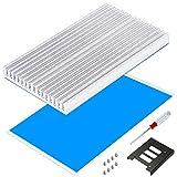 ヒート シンク Heatsink 100mm*64mm*6mm Akuoly 2.5インチ3.5インチ変換用SSD HDDブラケット マウンタ、2.5インチssd用ヒート シンク 放熱パッド ネジセット付き