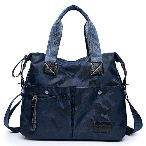 CZHJG Rucksack Camouflage Nylontuch Handtasche Frauen Casual Fashion Schulter Umhängetasche Weiblichen Beutel Vintage Leder Rucksack Blau