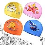 Zuzer 4pcs Kinder Badekappe Bademütze Schwimmkappe Bademütze Badehaube Schwimmen Schwimmmütze für Mädchen Jungen