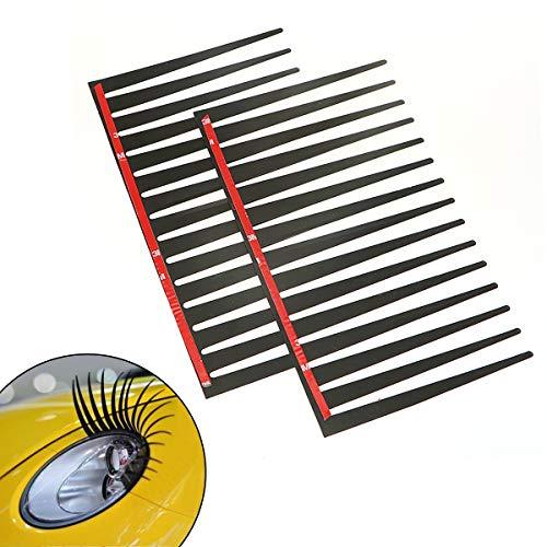 EQLEF® Auto Aufkleber 3d Wimpern Aufkleber 2 pcs schwarze Wimpern für Auto Autoaufkleber ein Paar Autotattoo Auto-Wimpern der Träger-Auto-Styling-Scheinwerfer dekorativen Aufkleber Car Styling