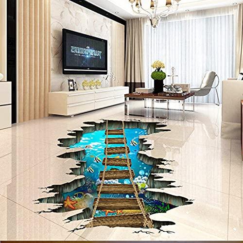 SuperDuo Underwater World Wall Decal 3D Floor Stickers Home Room Decor Broken Wall Starfish Fish Vivid Under The Sea Art Wall Decal Floor Wallpaper for Kids Room Nursery Bedroom Decor