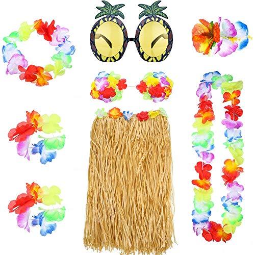 Hawaiana Falda,Falda de Hierba Hula Hawaiana 8 Piezas Hawaiana Disfraces Falda con Collar Pulsera Diadema Sujetador de Flor Clip de Pelo y Gafas de Sol de Piña para Niñas Mujeres Luau Beach Party
