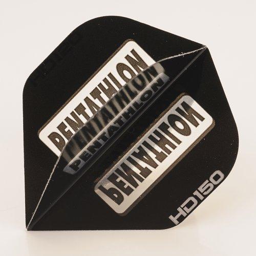PerfectDarts 5 x Sets of Pentathlon schwarz Super Tough HD150 Dart Flights, Standard