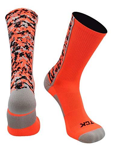 TCK Digital Camo Crew Socks (Neon Orange, Small)