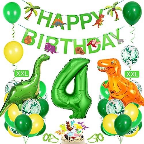 Bluelves Decoración de cumpleaños para niños Dino,  Globo Verde 4,  decoración de cumpleaños para niño de 4 años,  decoración de cumpleaños