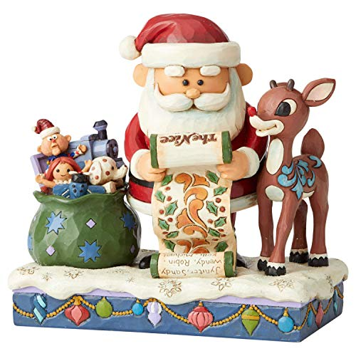 Enesco Traditions by Jim Shore Rudolph The Red-Nosed Reindeer and Santa Checking List Figurine, 6.5 Inch, Multicolor