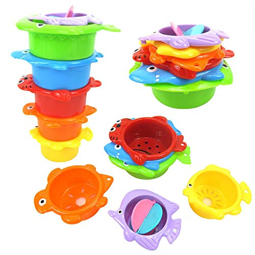 Juego de Vasos apilables para baño de bebé, 8 Unidades, Juguete para bañera, Juguete de Arena, Vasos apilables para niños, Juego de Agua con Pegatinas