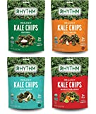 Rhythm Superfoods Kale Chips, Variety Pack, Original/Zesty Nacho/Kool Ranch/Mango Habanero, Organic and Non-GMO, 2.0 Oz (Pack of 4), Vegan/Gluten-Free Superfood Snacks