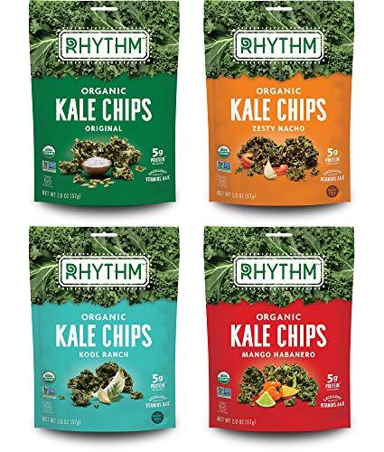 Rhythm Superfoods Kale Chips, Variety Pack, Original/Zesty Nacho/Kool Ranch/Mango Habanero, Organic and Non-GMO, 2.0 Oz (Pack of 4), Vegan/Gluten-Free Superfood Snacks