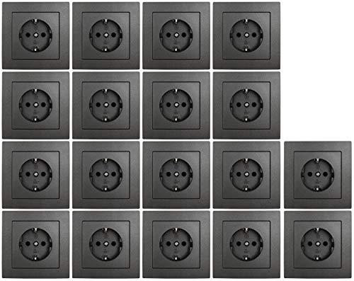 MC POWER - 18er Pack Steckdosen mit Rahmen | FLAIR | anthrazit, matt