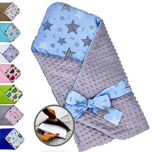 Saco de dormir para bebé acolchado y reversible desde el nacimiento, nido de ángel muy suave – invierno y verano, Multiusos,cama, cochecito, manta, 100% algodón, tejido minky suave, ideal como regalo
