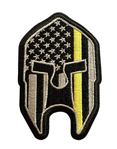 Subdued Thin Yellow Line American Flag Spartan Helmet Patch