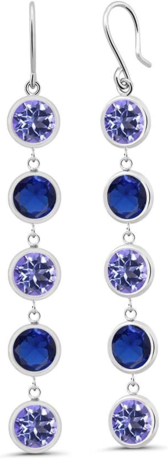 4.50 Ct Purple bluee Mystic Topaz bluee Simulated Sapphire 925 Silver Earrings