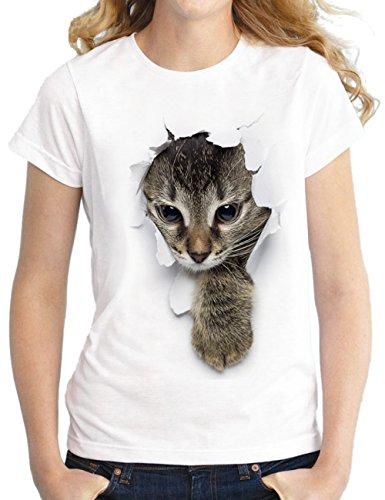 SOMTHRON Los Hombres de Las Señoras Embroma la Camiseta del Gato de la impresión 3D de la Familia con Las Camisetas Superiores Casuales Divertidas del Estampado Gráfico(WWH1,XL)