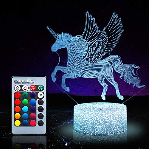 Einhorn Nachtlicht für Kinder, Einhorn Spielzeug für Mädchen, 16 Farben wechselnde Nachtlampe mit Fernbedienung 0072