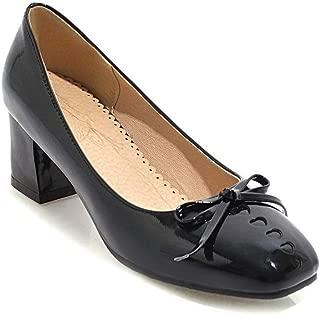BalaMasa Womens Bows Solid Casual Urethane Pumps Shoes APL10579