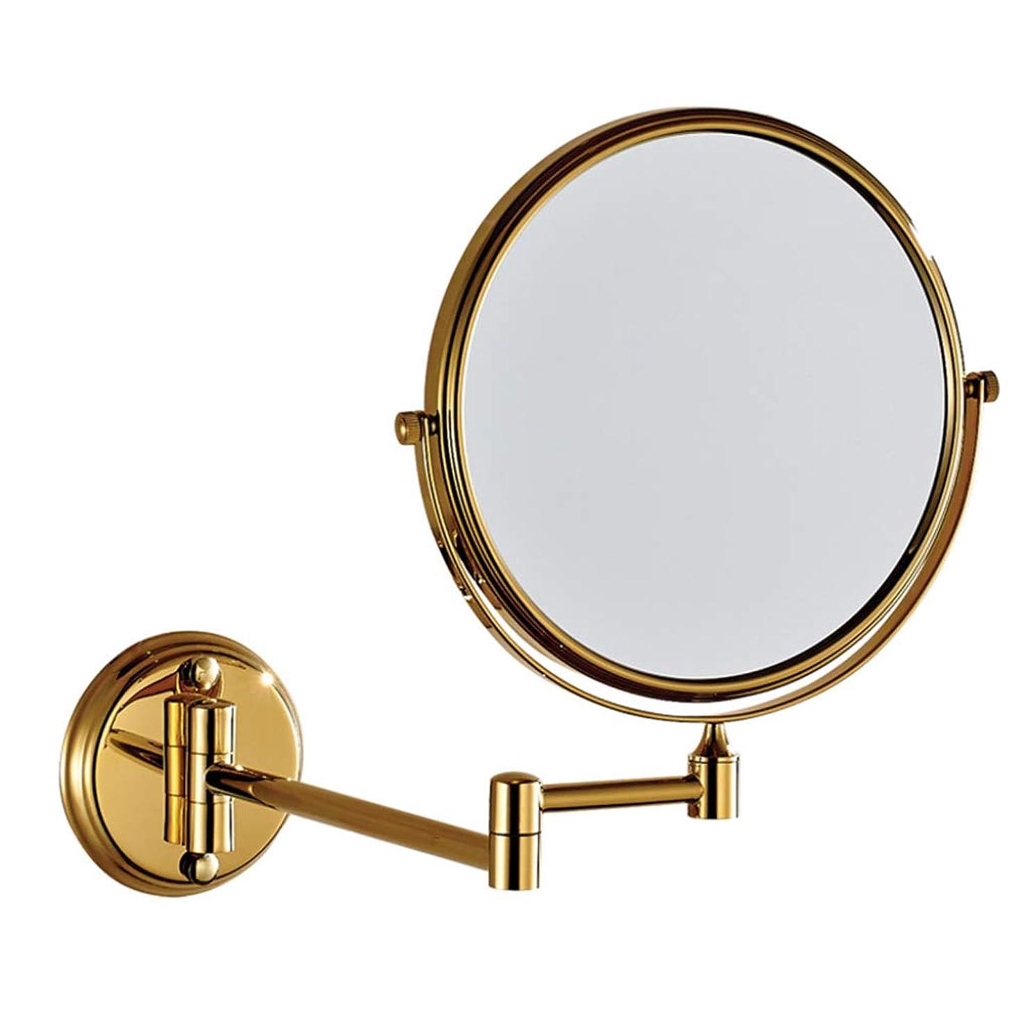 申し立て畝間くぼみHUYYA シェービングミラー 壁付、バスルームメイクアップミラー 3 倍拡大鏡 バニティミラー 両面 化粧鏡 寝室や浴室に適しています,Gold_6inch