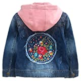 Peacolate 3-10Years Spring Autumn Girl Jacket Little Girl Denim Jacket Coat Flower Patch Denim Jacket(Rose,4-5T)