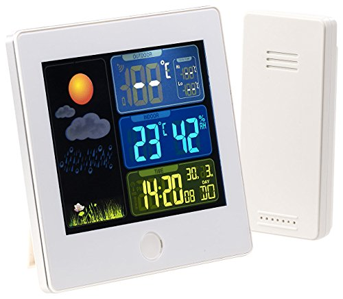 infactory Thermometer: Funk-Wetterstation mit Außensensor, Farbdisplay, Funkuhr, Wecker, weiß (Uhr mit Temperaturanzeige)
